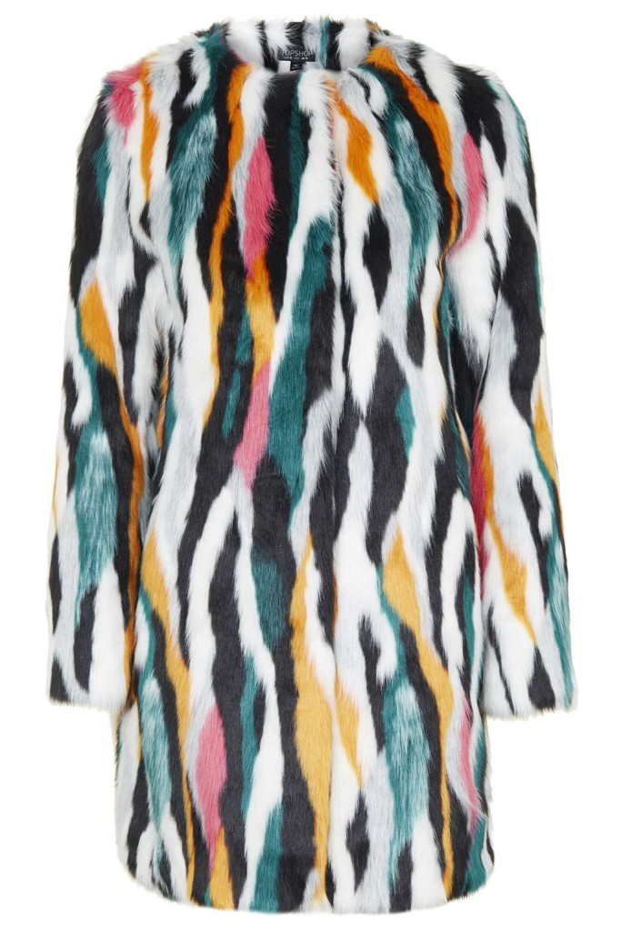 Topshop Faux fur multicoloured coat