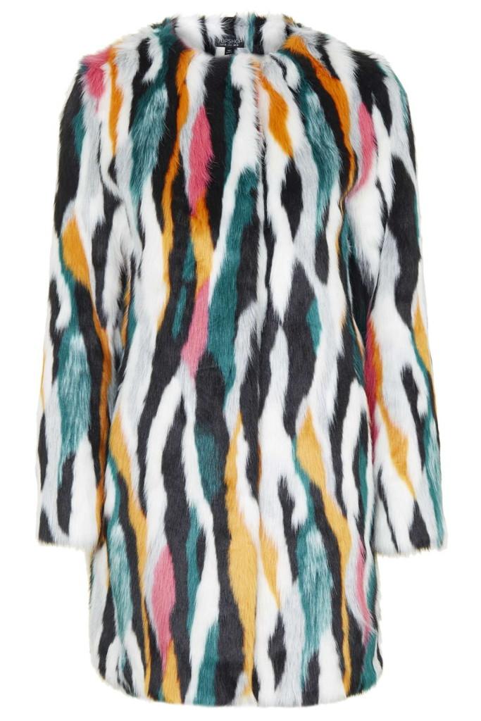 Topshop Faux fur multicoloured coat