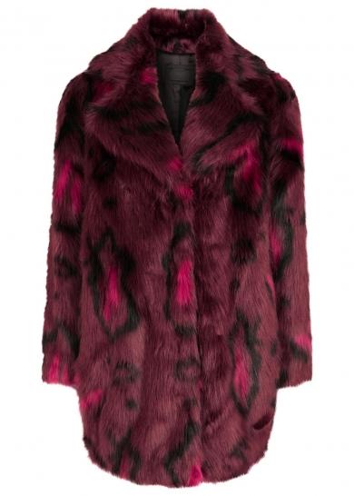 Karl Lagerfeld Adrianna printed faux fur coat