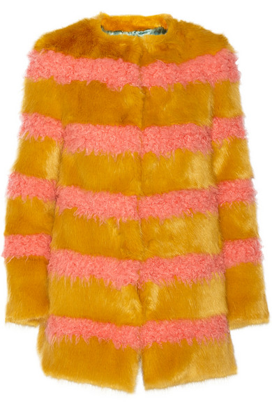 Shrimps Bobbin striped faux fur coat