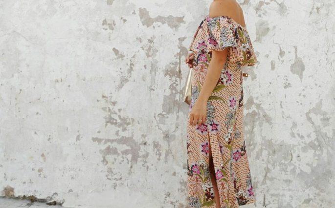 zara off the shoulder printed dress