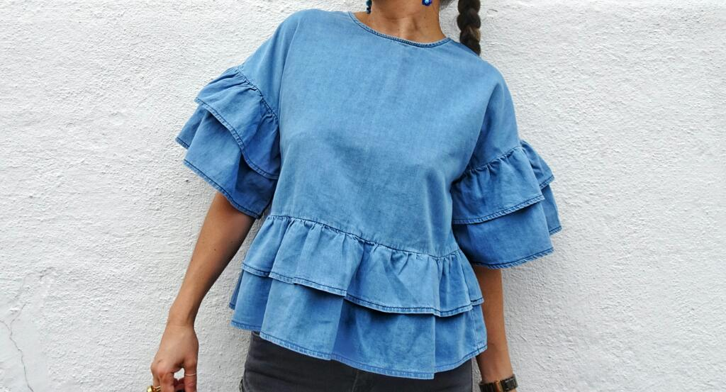 ASOS Denim Tiered Top