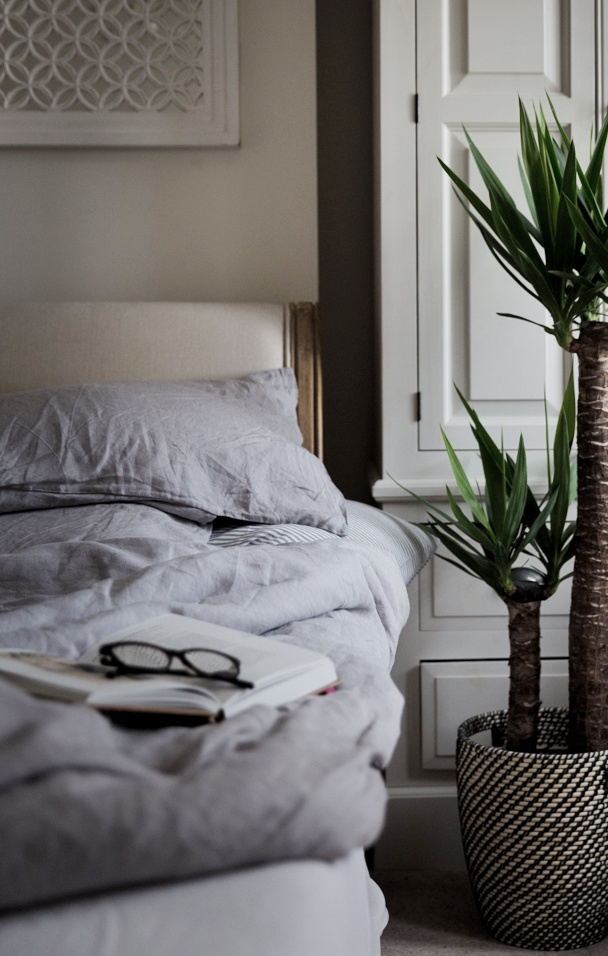 grey linen bedsheets